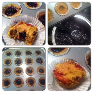 Raw Vanilla Cupcakes with Basil Blueberry Jam filling and Lemongrass Icing