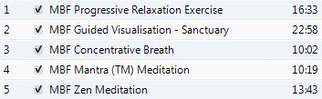 Stress Release CD Tracks